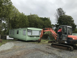 Repositioning of static caravan